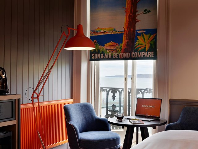 The blinds are made from images of vintage posters advertising Scarborough's many charms