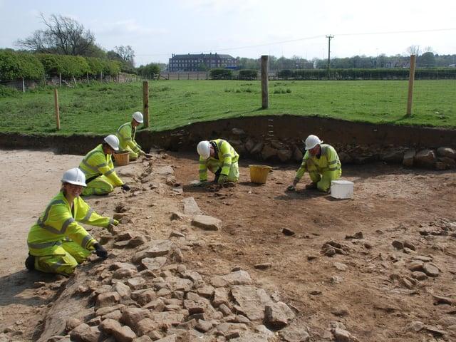 Archaeologists at work near Scotch Corner