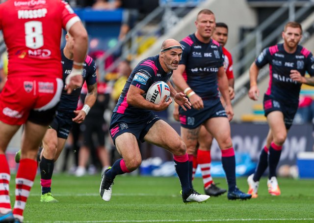 Testing time: HUll FC in action against Salford, before six players tested positive for coronavirus. (Picture: SWPix.com)