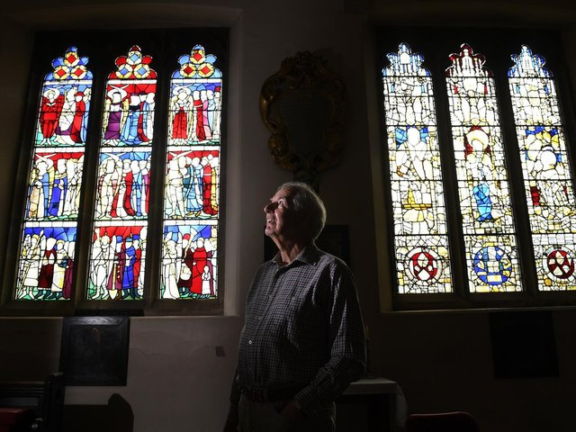 Pictured, David Tichener picture by one of the stain glass windows to be repaired by the National Lottery Heritage fund at All Saints Church, North Street York..23rd August 2020..Photo credit: Simon Hulme/ JPIMediaResell