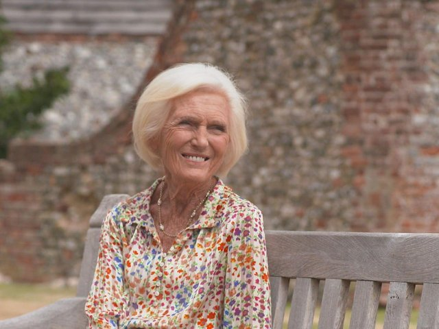Mary Berry has told how she used to take the runt pig to her bed. Picture: BBC.