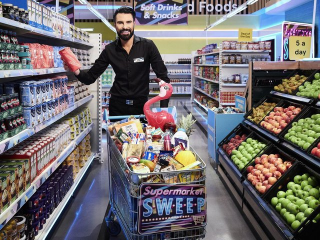 Rylan Clark-Neal, who returns as host of ITV's Supermarket Sweep next month. (Picture: PA//ITV/Talkback Thames).