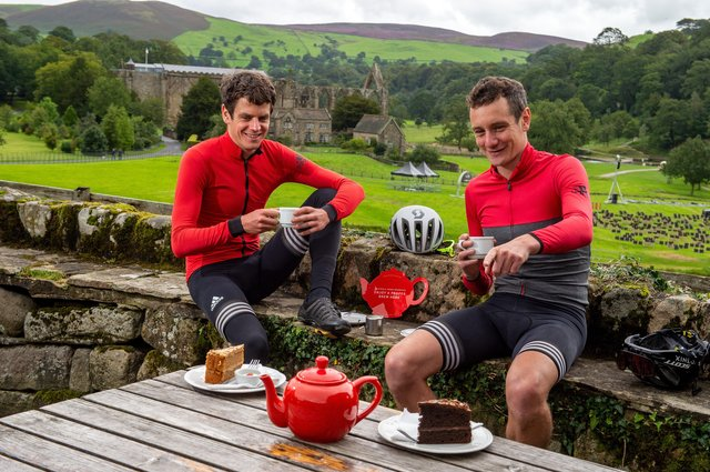 Olympians Jonny and Alistair Brownlee enjoy a cup of Yorkshire Tea at the Tea Cottage in Bolton Abbey to help promote an initiative aimed at helping cafes. Picture: Bruce Rollinson