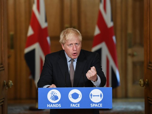 Prime Minister Boris Johnson during a virtual press conference at Downing Street, London, following the announcement that the legal limit on social gatherings is set to be reduced from 30 people to six. The change in the law in England will come into force on Monday as the Government seeks to curb the rise in coronavirus cases. Photo: PA