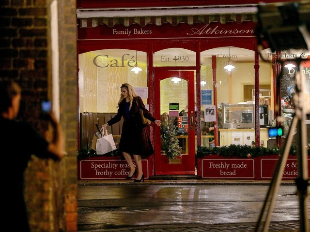 Nathalie Cox was filmed outside Atkinson Bakers this week for Father Christmas Is Back.