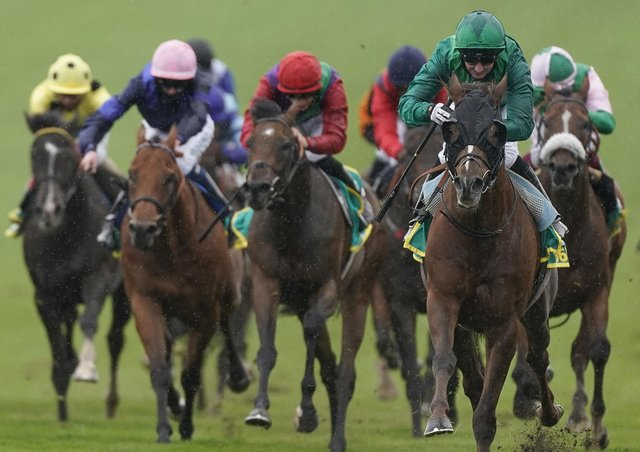 Paul Hanagan (right) is actually smiling as Majestic Dawn turns the bet365 Cambridgeshire into a one-horse race.