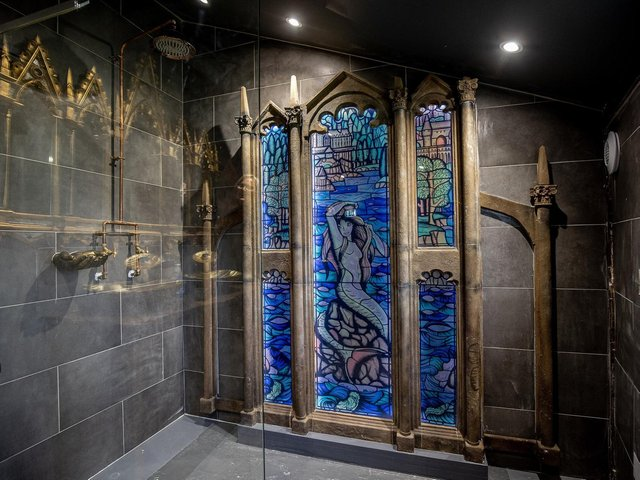 The mermaid stained glass window mirrors the common room in the Gryffindor house from the Harry Potter films. (Credit: Charlotte Graham)