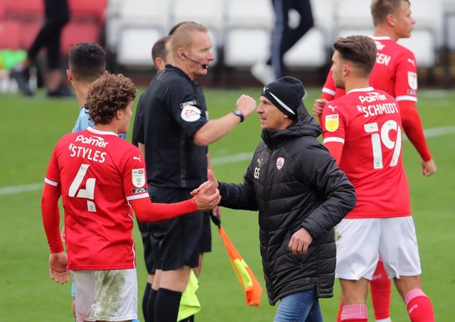 Barnsley manager Gerhard Struber pictured after the final whistle at Oakwell on saturday. Picture: Richard Sellers/PA