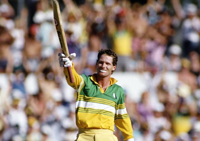 One-day great: Australia batsman Dean Jones celebrating a  century against Pakistan in 1987. Picture: Getty Images