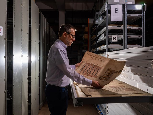 Peter Evans, Archives and Heritage Manager, for Sheffield City Archives, looking at some of the artefacts.