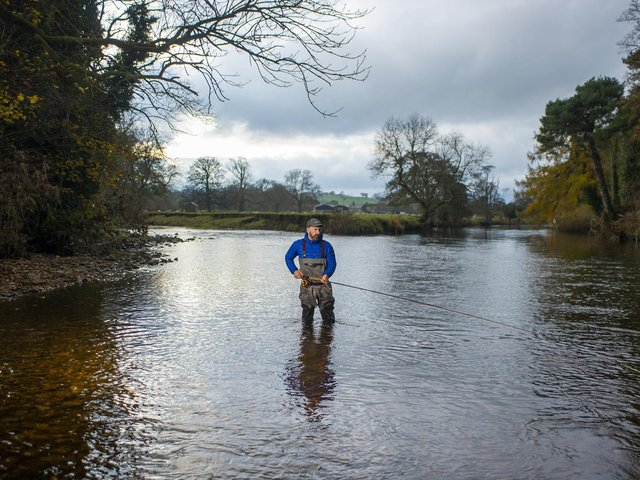 Fishing guide Philip Ellis in the River Ure at East Witton