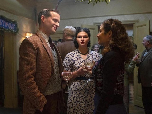 James (Nicholas Ralph) and Helen (Rachel Shenton) share a smile as James's new girlfriend Connie (Charlie May-Clark) looks on frostily.