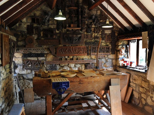 A recreation of Robert Thompson's joinery workshop in 1900 at the Mouseman Visitor Centre in Kilburn