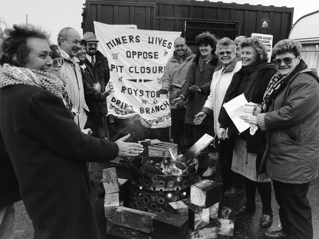 Betty Cook and Anne Scargill in the early 1990s, among women opposing pit closures.
