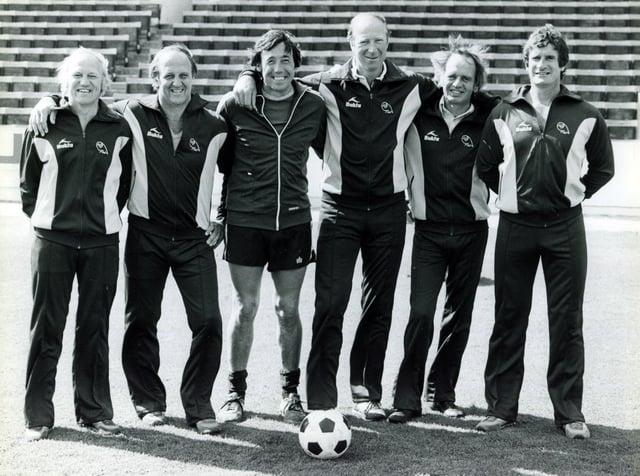 Sheffield Wednesday in August 1981. From left: Frank Blunstone, Maurice Setters, Gordon Banks, Jack Charlton, John Honey and Tony Tomms