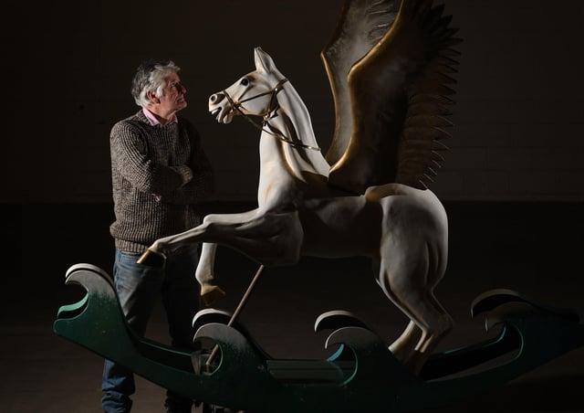 Rocking Horse Maker Steven Bulcock, Hebden Bridge with his Pegasus rokking horse.Picture by Simon Hulme