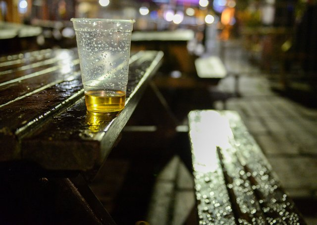 An almost empty beer cup is seen at a pub in King Street on October 12, 2020 in Bristol, England.  (Photo by Finnbarr Webster/Getty Images)