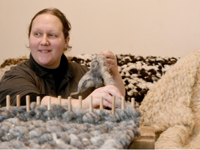 After wool prices fell Laura turned her fleeces into rugs