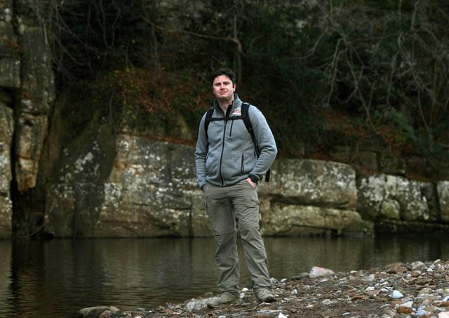 Ben McComb taking part in the Walking Home For Christmas campaign, in training for his walk across the Omani desert in February.Picture : Jonathan Gawthorpe