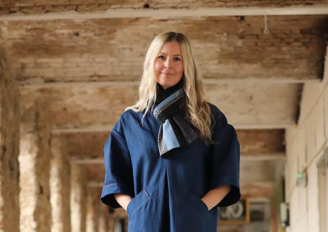 Based near Holmfirth, Louise Stocks-Young of The Smock Works has created a new range of smocking-inspired Japanese denim scarves. This is the Multi Denim Scarf, £155, worn with the Sunday smock dress, £650, at thesmockworks.co.uk.