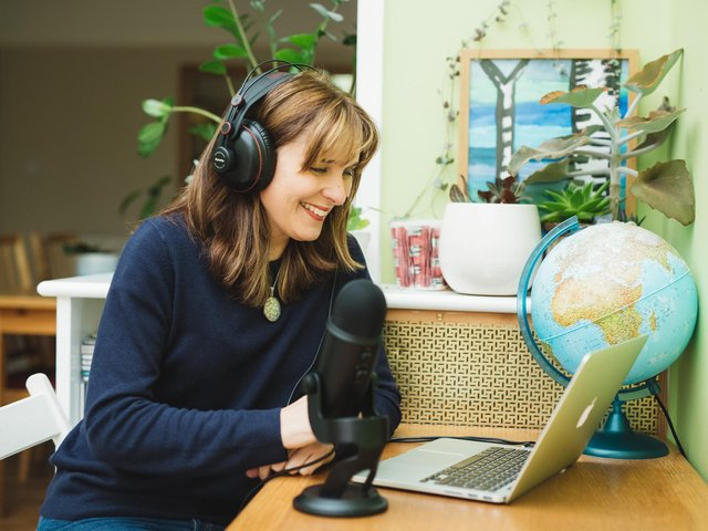 Jane Perrone recording her podcast On The Ledge. Picture: Cat Lane/PA