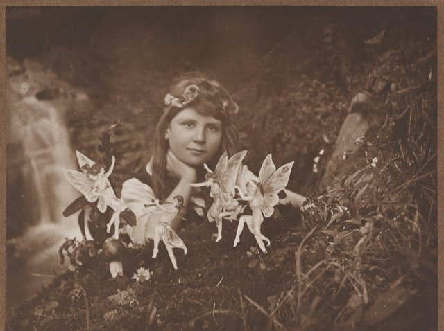 Elsie Wright took this image of her cousin Frances with the 'fairies'. Photo: Supplied by University of Leeds.