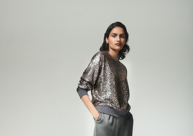 Comfort and sparkles - how very Christmas 2020. This lovely look is from John Lewis's 12 Days of Christmas Dressing collection. The Kitchen Disco two-piece, £89 for the top, £79 for the bottoms, by Hush at John Lewis.