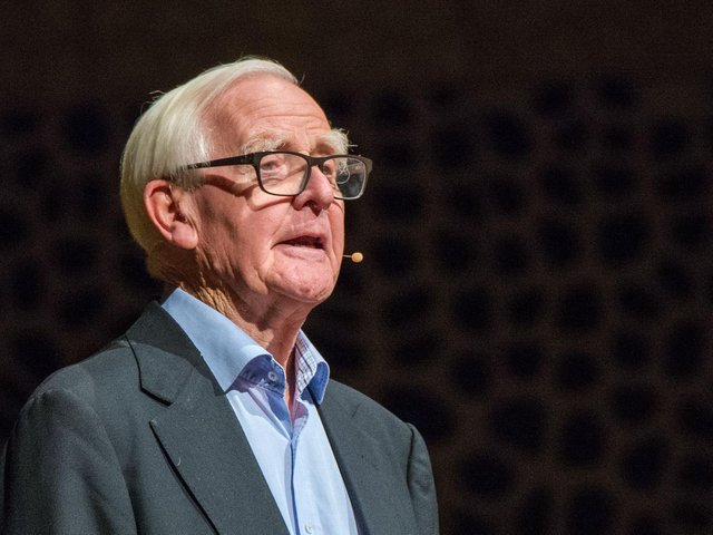 British bestselling author John le Carre, who has died aged 89, seen here giving a speech in 2017 in Hamburg. (DPA/AFP via Getty Images)