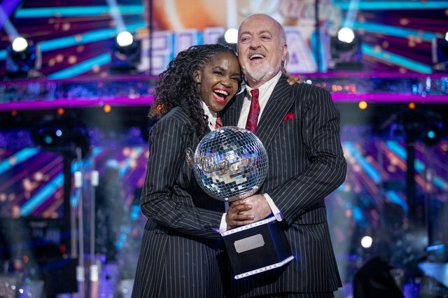 Bill Bailey and his dance partner Oti Mabuse and Bill Bailey winning the final of Strictly Come Dancing 2020.