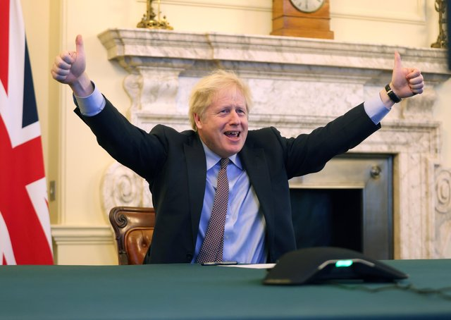 Boris Johnson's reaction in 10 Downig Street when the Brexit trade deal with the EU was sealed on Christmas Eve.