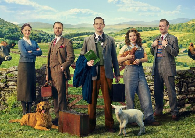 The cast of All Creatures Great and Small with Siegfried (Samuel West), second from left in his classic tweed three-piece suit. Picture: Channel 5