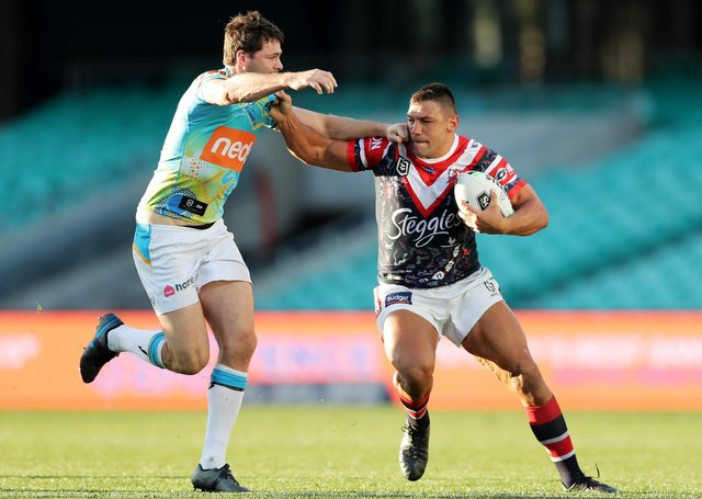 Ryan Hall, right, in action for Sydney Roosters against Gold Coast Titans, believes his impact in the NRL was far greater than merely replicating the try-scoring prowess he enjoyed in Super League. The winger is back on home soil again with Hull KR. (Picture: Matt King/Getty Images)