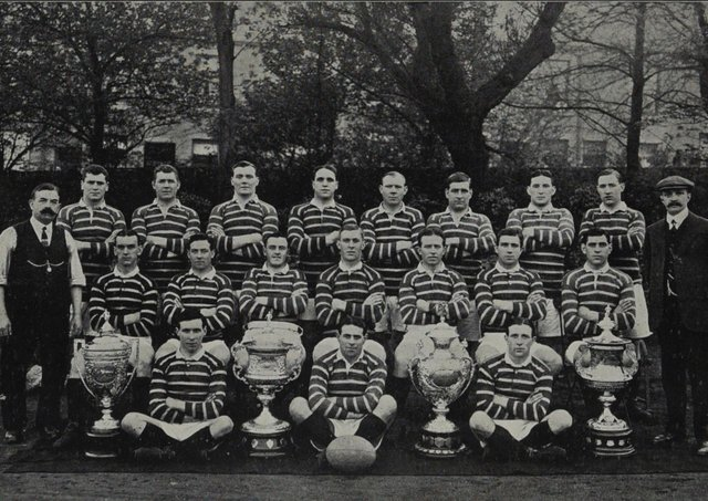 Douglas 'Duggy' Clark: Son of a Cumbrian coal merchant, Douglas Clark, part of the Huddersfield team that proudly display their four-trophy haul from 1914-15. Picture: Elizabeth James & Imperial War Museum/1917 Huddersfield Rugby League