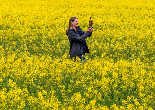 Jennie Palmer of North Breckenholme Farm, Thixendale, who is schooling two young children alongside marketing for the families Yorkshire Rapeseed Oil business.Picture James Hardisty