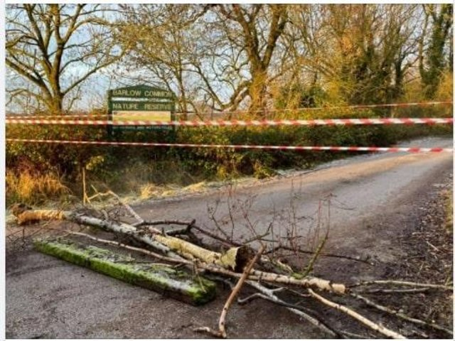 Barlow Common car park was blocked on Sunday by debris and tape