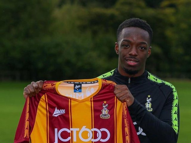 Austin Samuels, pictured at his unveiling at Bradford City in October. Picture courtesy of Bradford City AFC.