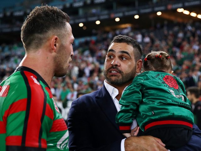 Greg Inglis, right, with South Sydney team-mate Sam Burgess after retiring in 2019. (Photo by Cameron Spencer/Getty Images)