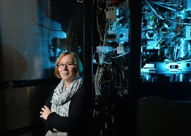 Professor Sheena Radford with the electron microscope. Picture Bruce Rollinson