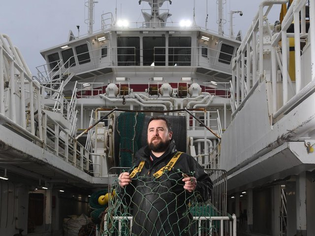 Deckhand Ricky Campbell on board the Kirkella  Picture: Jonathan Gawthorpe