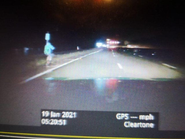 An e-scooter rider caught driving up the M1 motorway in the dark.