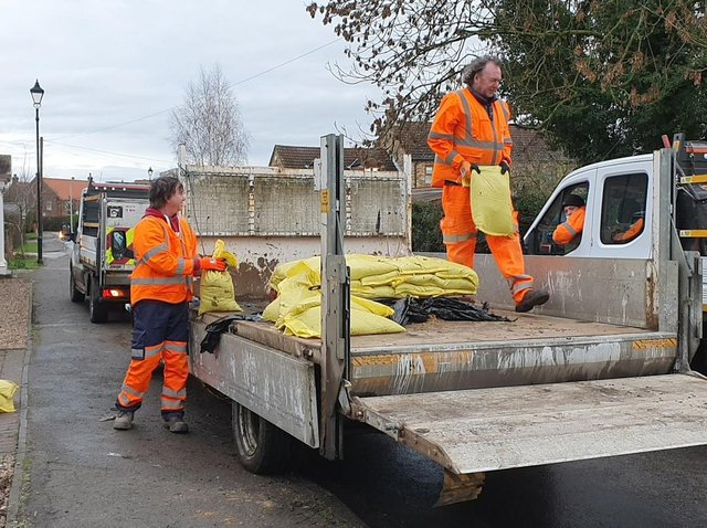 Council staff in Fishlake distributed sandbags to residents on Tuesday as the village prepared for potential flooding