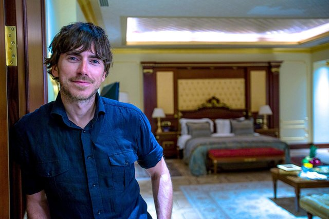 Simon Reeve in the £1 billion Mardan Palace Hotel, Antalya - Photographer: Craig Hastings/BBC