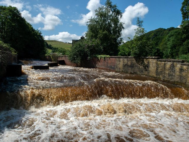 Calder Valley during previous floods in 2019 cc SWNS