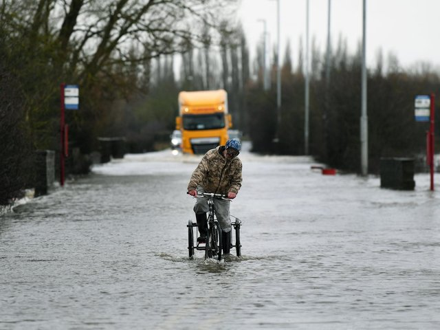 Barnsdale Road, in Allerton Bywater, has closed due to the flooding.