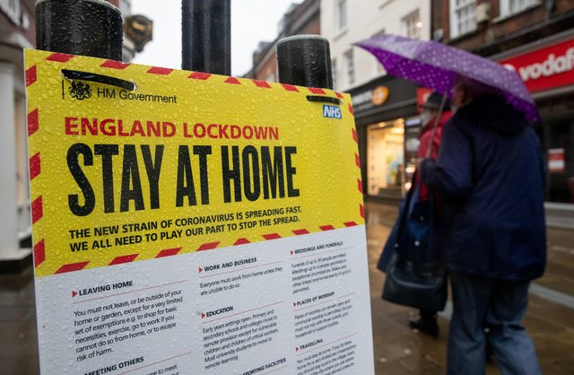 Deserted streets during England's third national lockdown to curb the spread of coronavirus.