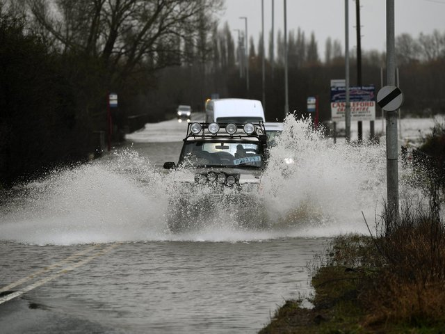 Flooding in Allerton Bywater, Leeds, on Wednesday
