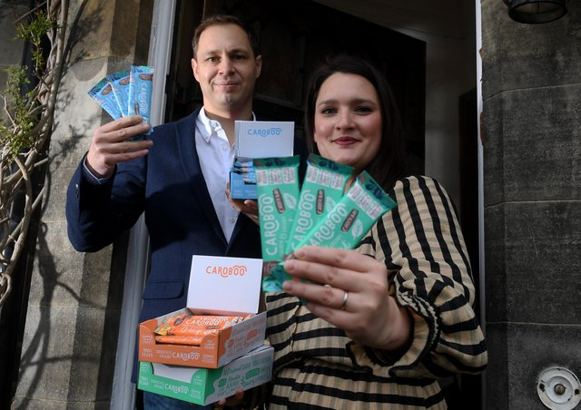 Charlotte and Darran Miller pictured with their newly launched Caroboo vegan chocolate, at there home at Riddlesde..Picture by Simon Hulme