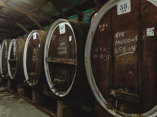 Rutherglen Muscat in barrels.  (Picture: Ewen Bell/Wine Australia).
