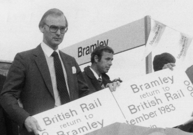 Bill Cottham at the opening of Bramley Station in 1983