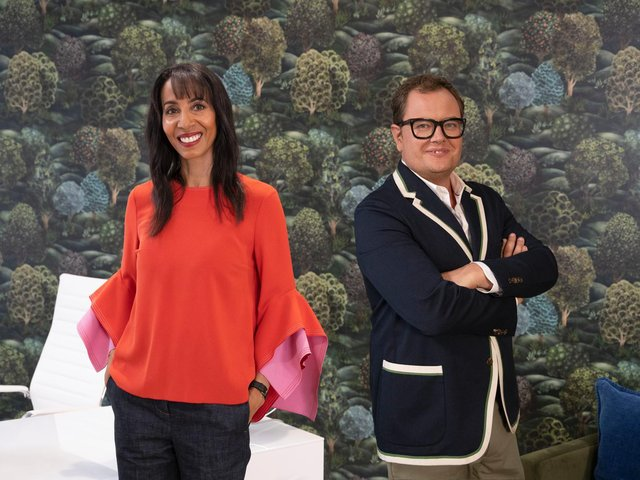 Show host Alan Carr and judge Michelle Ogundehin